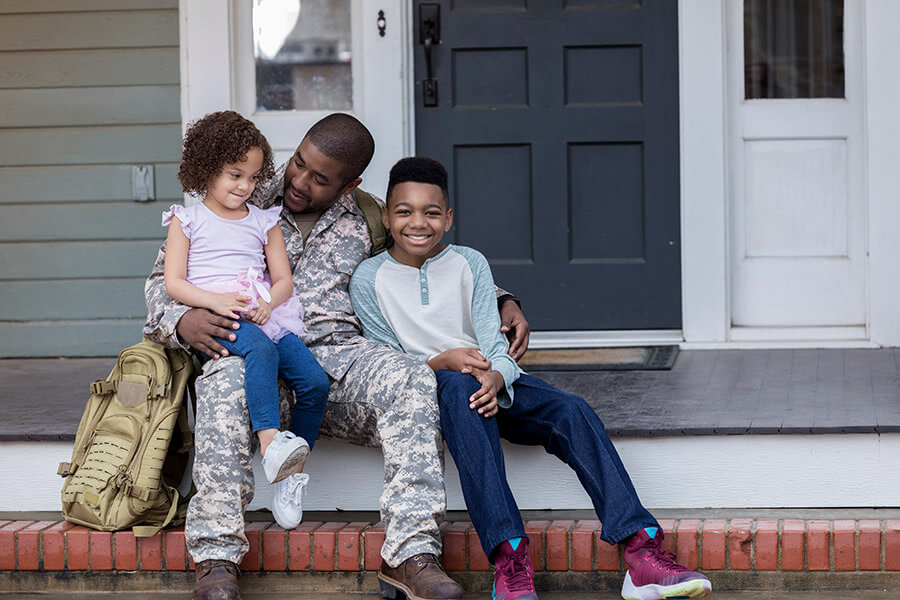 army veteran with two children